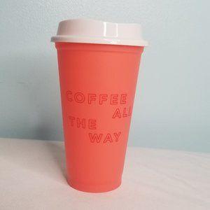STARBUCKS peach reuseable mug